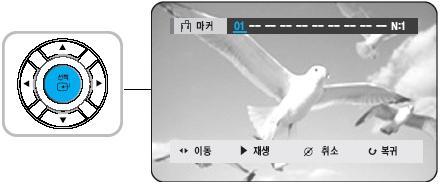 숫자 01이 나타나고 장면이 01에 저장되는 화면